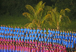 APIA, SAMOA - SEPTEMBER 05: Singers in the choir perform during the Opening Ceremony of the Vth Commonwealth Youth Games at Apia Park on September 5, 2015 in Apia, Samoa. (Photo by Scott Barbour/Getty Images)