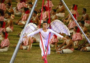 APIA, SAMOA - SEPTEMBER 05: Entertainers perform during the Opening Ceremony of the Vth Commonwealth Youth Games at Apia Park on September 5, 2015 in Apia, Samoa. (Photo by Scott Barbour/Getty Images)..