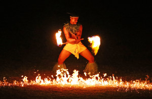 APIA, SAMOA - SEPTEMBER 05: A Samoan fire dancer performs during the Opening Ceremony of the Vth Commonwealth Youth Games at Apia Park on September 5, 2015 in Apia, Samoa. (Photo by Scott Barbour/Getty Images)