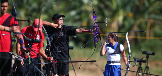 APIA, SAMOA - SEPTEMBER 08:  Chayse Martin of New Zealand competes in the archery qualification round at the Tuanaimato Sports Facility on day two of the Samoa 2015 Commonwealth Youth Games on September 8, 2015 in Apia, Samoa.  (Photo by Mark Kolbe/Getty Images)