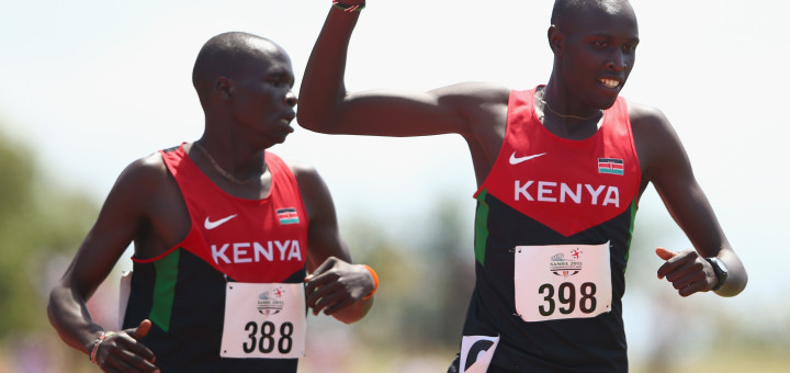 APIA, SAMOA - SEPTEMBER 09:  Gold medalist Willy Tarbei of Kenya wins from Bett Kipyegon of Kenya in the boys 800m final during the athletics competition at the Apia Park Sports Complex on day three of the Samoa 2015 Commonwealth Youth Games on September 9, 2015 in Apia, Samoa.  (Photo by Mark Kolbe/Getty Images)