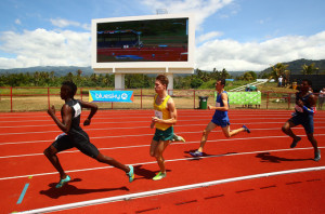 A general view during the Boys 800 Metre heats during the Athletics at the Apia Park Sports Complex