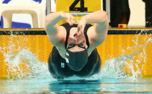 Annabelle Paterson of New Zealand competes in the Women's 200m Backstroke Final at the Aquatic Centre of the Tuanaimato Sports Facility