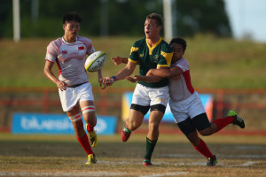 the boys match between south Africa and Singapore in the rugby sevens competition at the Apia Park Sports Complex on day three of the Samoa 2015 Commonwealth Youth Games