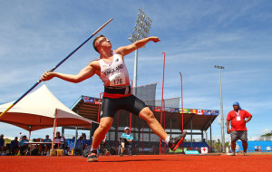 George Davies of England competes in the Boys Javelin during the Athletics at the Apia Park Sports Complex